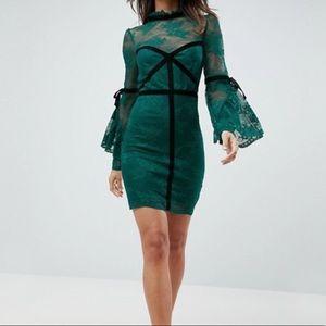 High Neck Lace Bodycon Mini Dress w/ Velvet